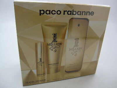 1 MILLION PACO RABANNE MEN 3 Pieces Set: 3.4 EDT Spray + 3.3 Gel + 10 ML Spray