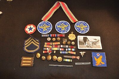 WWII LOT Photo, Ribbons, Patches, Buttons, Medal, Insignia & More No Reserve N/R