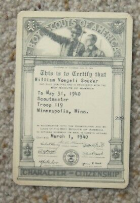 Boy Scouts of America vintage antique membership card 1940 Troop 119 Minnesota