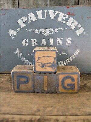 Antique Wood Alphabet Blocks Spell PIG with Antique Rubber Toy Pig