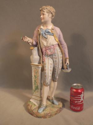 "Superb Large 19"" Antique French Bisque Figure Statue - Man W/basket - Signed"