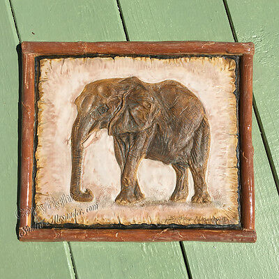 African Elephant tile Sculpture Ceramic RELIEF animal portrait Sondra Alexander