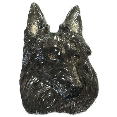 Belgian Sheepdog Pet Portrait dog tile RELIEF by Sondra Alexander Art