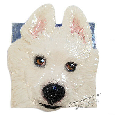 Samoyed Ceramic dog portrait 3d tile RELIEF portrait by Sondra Alexander Art