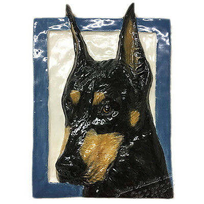 "Doberman Pinscher Dog Tile Ceramic handmade sculpture 6""x8"" Sondra Alexander Art"