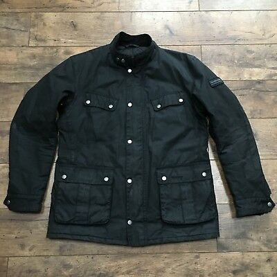 Men's Barbour International Black Waxed Duke Quilted Jacket Size Large