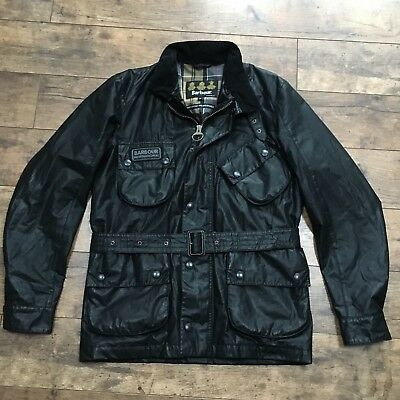 Men's Barbour International Black Carbon Finish Belted Jacket Size Small Ex Con!