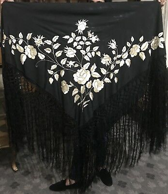 """Antique Chinese Hand Embroidered Silk Piano Shawl Pure Silk  49""""X 53"""""""