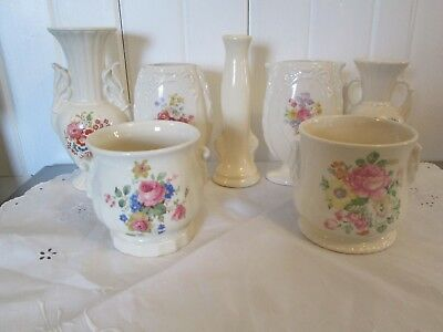 Instant Collection Lot 7 Royal Copley Bouquet Flowers Pottery Vases Cream Ware