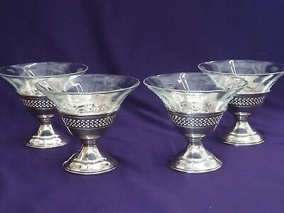 Redlich & Co. Sterling Silver Low Sherbet Champage Glass - Set of 4 - Excellent