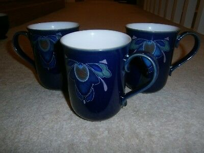 3 Stylish Denby Baroque Straight Sided Mugs Good Used Condition Discontinued