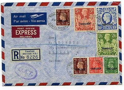British P.O. Tangier multifrkd. R-airmail express cover (O.A.T.) to Zurich 1949