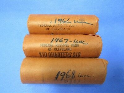 3  Uncirculated Quarter Rolls 1966, '67, And 1968