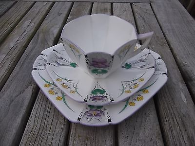 (483) Shelley Art Deco Queen Anne Tea Trio # Rare Purple Pansies Pattern