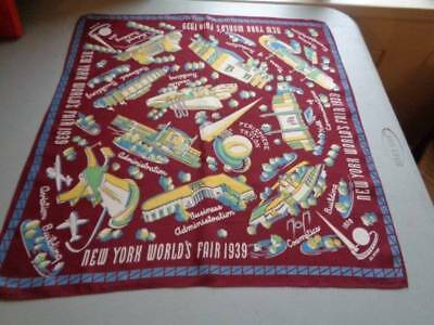 Vintage New York Worlds Fair 1939 Silk Scarf Hanky Fabulous