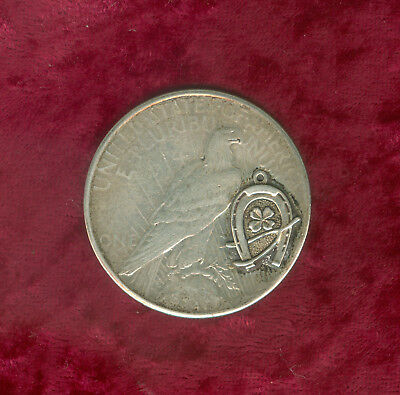 """Good Luck"" 1922-S Peace Dollar-""Horseshoe-4 Leaf Clover-Wishbone"" on Reverse"