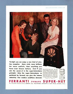 The  FERRANTI 7-VALVE SUPER-HET RADIO   (1932 Advertisement)