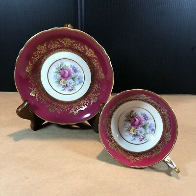Paragon Tea Cup & Saucer Rich Ruby Red With Florals Lots Of Gold