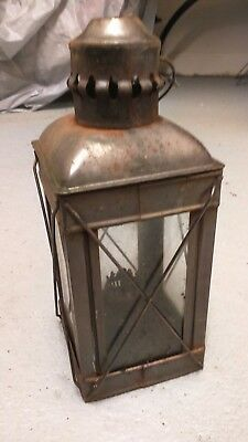 Vintage Lantern Antique Style Glass Paraffin Or Fuel Candle Lamp Retro