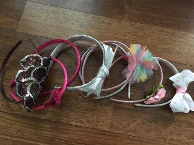 NEW LOT OF 8 pink silver brown big Flower Boutique headbands girls