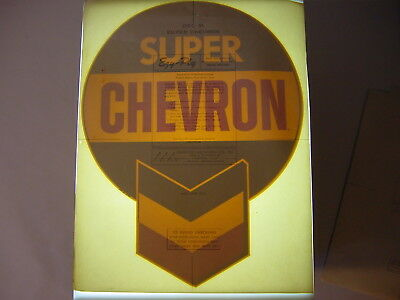 Vintage NOS Original Super Chevron Gasoline Gas Pump Water Transfer Decal Sign