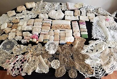 Huge Lot of Antique & Vintage Lace Trim Doilies 1890-1970 Sewing Crafting