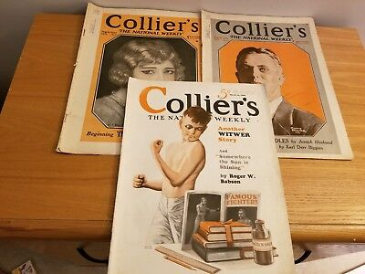 Vintage Lot Of 3 Collier's Magazines 1920's