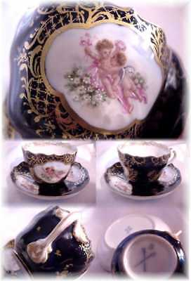 1800s MEISSEN GERMANY CUP AND SAUCER COBALT HAND PAINTED CHERUBS ANGELS !