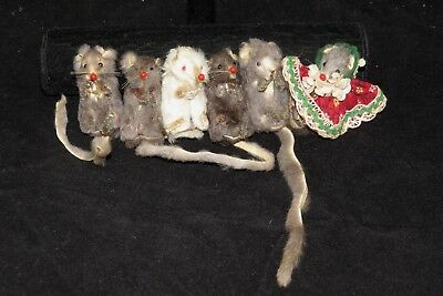 Lot of vintage mice Original Fur Toys and another made in USA dressed mouse