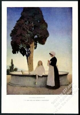 1904 Maxfield Parrish young girl I Am Sick Of Being A Princess vintage print NM