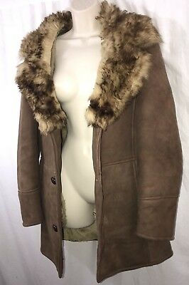 Vtg 70's Genuine Toscana Lamb Shearling Coat With Fur Trim Small 4/6 Gorgeous!