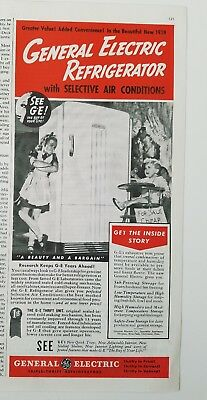 1939 GE General Electric Refrigerator boy high chair sister girl ad