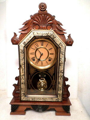 "1890 Antique Two Tone Walnut and Off White Ingraham 8 Day Parlor Clock 22"" High"