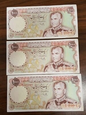 Iran Lot of 3 clean used banknote 1000 Rials Shah Pahlavi P105c