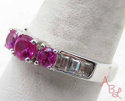 Sterling Silver Vintage 925 Cocktail Pink & White Stone Ring Sz 9 (4.9g) -712433