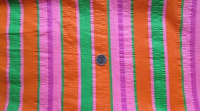 "Vtg~STRIPED Fabric~MID CENTURY MOD~Pink~ORANGE~Green~Wide SEERSUCKER~45""X 2.5 yd"