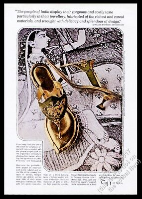 1963 Taj of India women's shoes bronze Wedding Cap Sandal photo vintage print ad