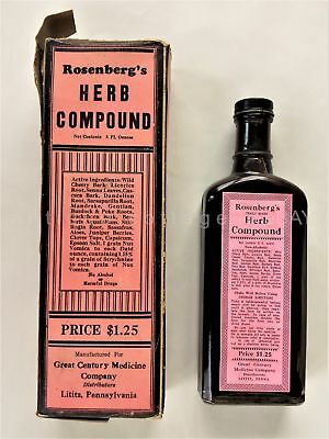 antique MEDICINE BOTTLE unused LITITZ PA ROSENBERG'S HERB COMPOUND quack CONTENT