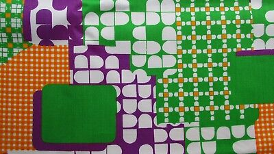 Vtg~GRAPHIC Fabric~DECOR~Mid Century Mod~ABSTRACT NOVELTY PRINT~3+ yds by 45""