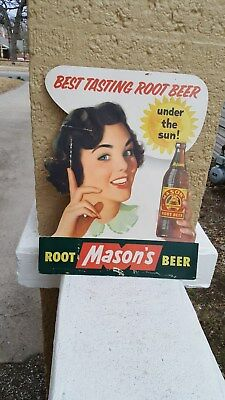 old Mason's Root Beer Diecut Cardboard Easel Back Sign,Pics Lady holding Bottle