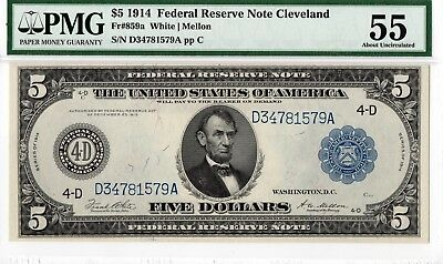 $5 1914 Federal Reserve Note Cleveland, FR-859a. PMG-55