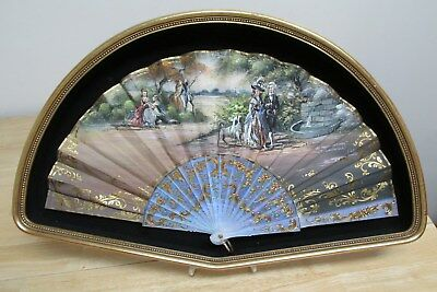 Vintage Hand Fan~ Hand Painted Victorian Scene Artist Signed In Shadowbox Frame