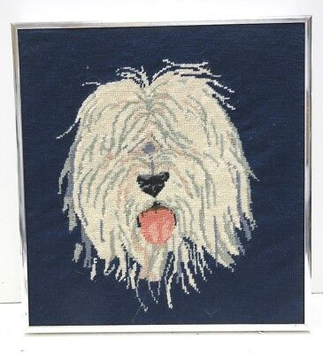 Vintage Needlepoint Shaggy Dog W/ Lolling Tongue On Navy Blue Field Framed