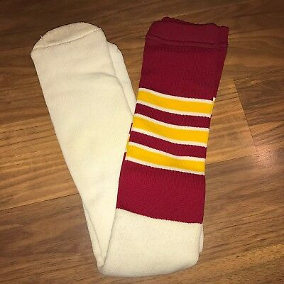 NEW Vtg 80s Knee high TUBE SOCKS Burgundy Yellow STRIPED Washington Redskins