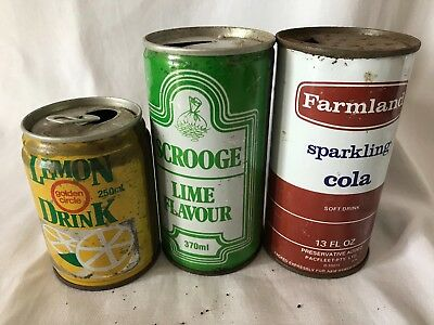 3 X  Soft Drink Tin Cans - Scrooge/ Golden Circle/ Farmland