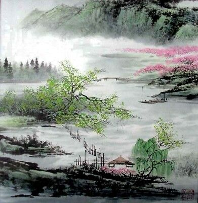 Oriental Chinese Brush Painting Ink Art-Yellow Mountain Spring 03LF 13x13""