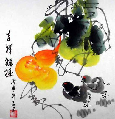 """Oriental Chinese Brush Painting Ink Art-Two Lovely Chicks Gourds 13x13"""""""