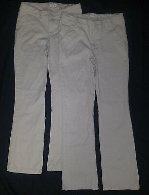 EUC Lot of 2 CAT & JACK Girls school uniform khaki pants-Size 12
