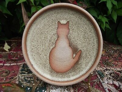 Studio Pottery Trinket Coaster or Decorative Plate Rear View of Seated Cat