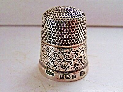Antique 1926 Solid Sterling Silver Hallmarked Thimble Js&s Size 18 Very Good